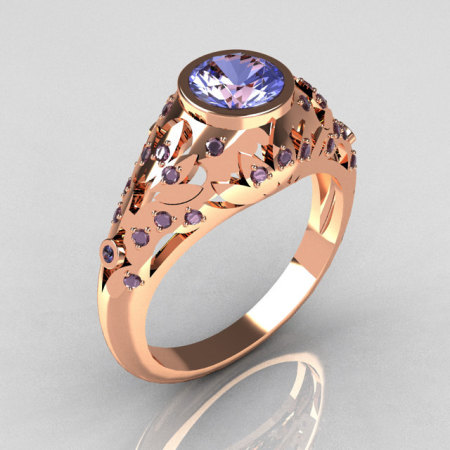 Modern Vintage 14K Rose Gold 0.65 Carat Blue Topaz Designer Ring R302-14RGBT-1