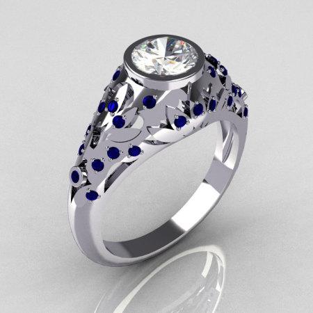 Modern Antique 14K White Gold 0.65 Carat White CZ Pave Sapphire Designer Ring R302-14WGCZBS-1