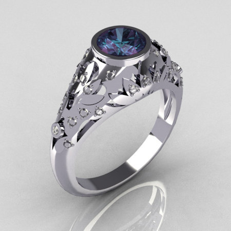 Classic French 14K White Gold 0.65 Carat Alexandrite Pave Diamond Designer Ring R302-14WGDAL-1