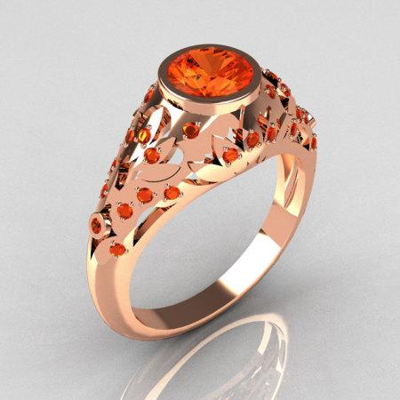 Modern Antique 18K Rose Gold 0.65 Carat Mandarin Garnet Designer Ring R302-18RGMG-1