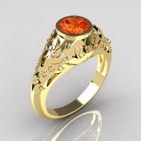 Modern Antique 10K Yellow Gold 0.65 Carat Mandarin Garnet Pave Diamond Designer Ring R302-10YGDMG-1