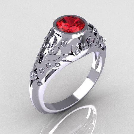 Modern Vintage 14K White Gold 0.65 Carat Red Garnet Pave Diamond Designer Ring R302-14WGDRG-1