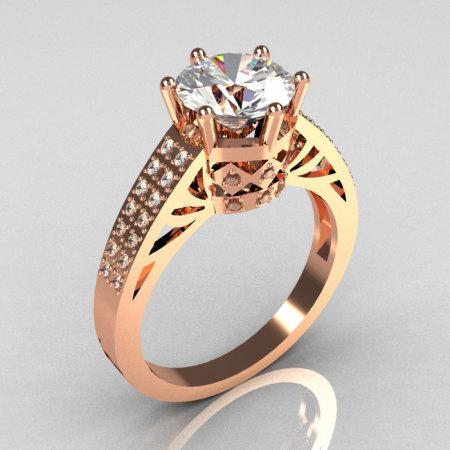 Modern Antique 18K Rose Gold 1.25 Carat Round CZ Pave 0.20 ctw Diamond Solitaire Wedding Ring Y233-18KRGDCZ-1