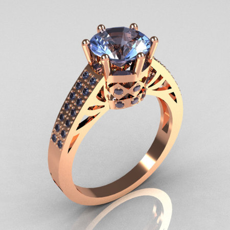 Modern Antique 18K Rose Gold 1.25 Carat Round Blue Topaz Solitaire Wedding Ring Y233-18KRGBT-1