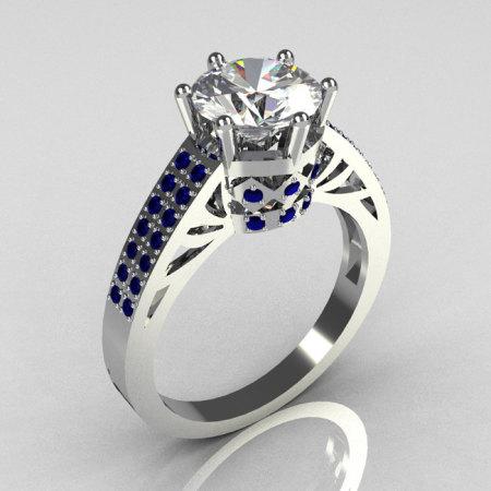 Modern Antique 14K White Gold 1.25 Carat Round CZ Pave Blue Sapphire Solitaire Ring Y233-14KWGCZBS-1