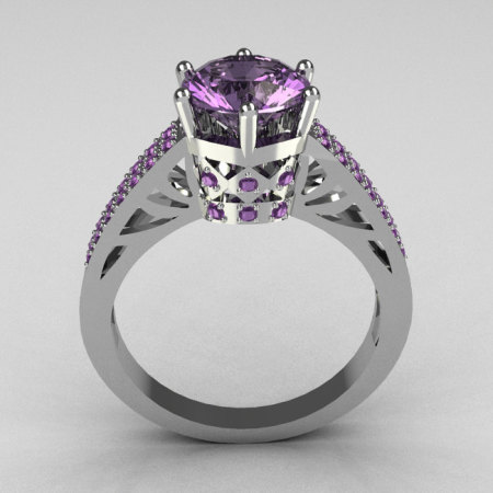 Hurro Armenian Antique 18K White Gold 1.25 Carat Round and Pave Lilac Amethyst Solitaire Ring Y233-18KWGLA-1