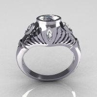Greco Roman Classic 18K White Gold Marquise CZ Designer Engagement Ring Y234-18KWGCZ-1