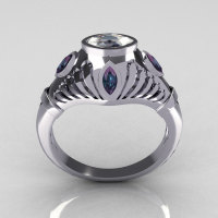 Greco Roman Classic 18K White Gold Marquise CZ Alexandrite Designer Engagement Ring Y234-18KWGAL-1