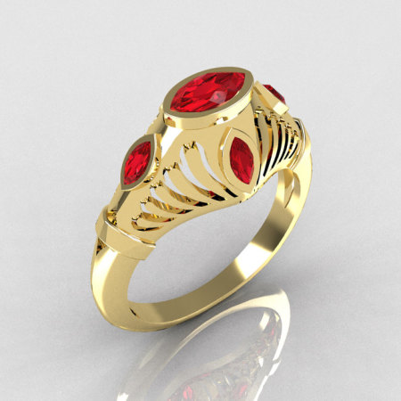 Greco Roman Classic 10K Yellow Gold Marquise Red Rubies Designer Engagement Ring Y234-10KYGRR-1