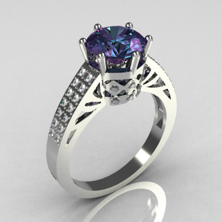 Modern Antique 14K White Gold 1.25 Carat Round Alexandrite Pave Diamond Solitaire Wedding Ring Y233-14KWGDAL-1