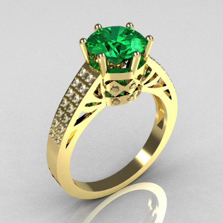 Modern Antique 10K Yellow Gold 1.25 Carat Round Emerald Pave Diamond Solitaire Wedding Ring Y233-10KYGDAL-1
