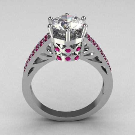 Hurro Armenian Antique 18K White Gold 1.25 Carat Round CZ Pave Pink Sapphire Solitaire Ring Y233-18KWGCZPS-1