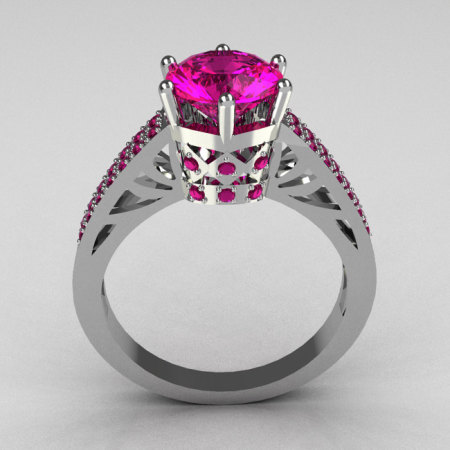 Hurro Armenian Antique 18K White Gold 1.25 Carat Round and Pave Pink Sapphire Solitaire Ring Y233-18KWGPS-1