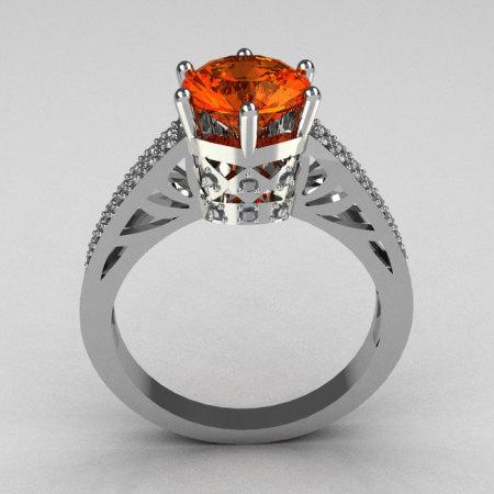 Hurro Armenian Antique 14K White Gold 1.25 Carat Tangerine Garnet Pave 0.20 ctw Diamond Solitaire Wedding Ring Y233-14KWGDTG-1