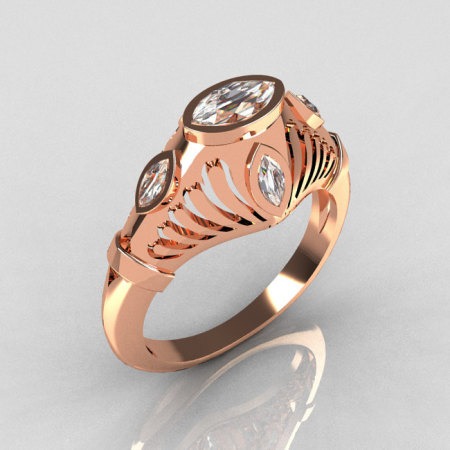 Greco Roman Classic 14K Rose Gold Marquise CZ Designer Engagement Ring Y234-14KRGCZ-1