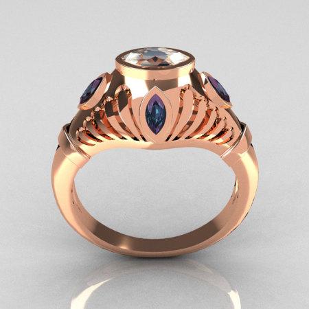 Greco Roman Classic 10K Rose Gold Marquise CZ Alexandrite Designer Engagement Ring Y234-10KRGAL-1