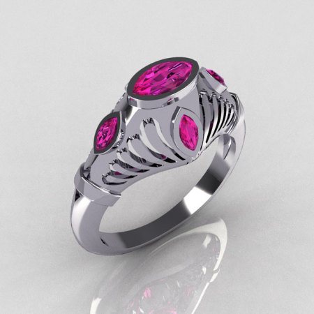 Greco Roman Classic 18K White Gold Marquise Pink Sapphire Designer Engagement Ring Y234-18KWGPS-1