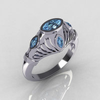 Greco Roman Classic 18K White Gold Marquise Blue Topaz Designer Engagement Ring Y234-18KWGBT-1