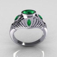 Greco Roman Classic 18K White Gold Marquise Emerald Designer Engagement Ring Y234-18KWGEM-1