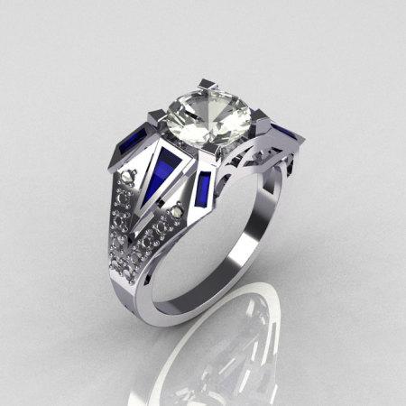 Modern Edwardian 950 Platinum 1.50 CT Round CZ Baguette Sapphire 0.20 Ctw Diamond Bridal Ring R85-PLATDBSCZ-1