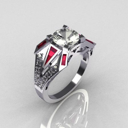 Modern Edwardian 950 Platinum 1.50 CT Round CZ Baguette Red Garnet 0.20 Ctw Diamond Bridal Ring R85-PLATDRGCZ-1