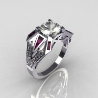 Modern Edwardian 14K White Gold 1.50 CT Round CZ Baguette Amethyst w 0.20 Ctw Diamond Bridal Ring R85-14KDCZAM-1