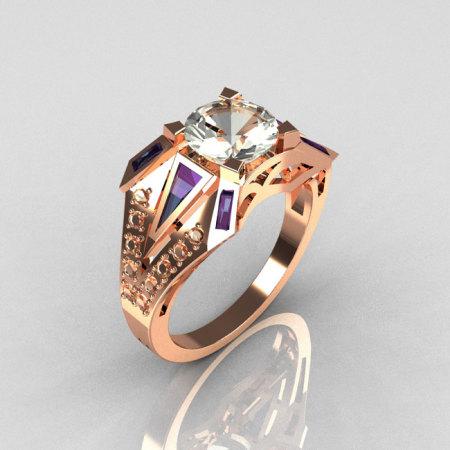 Modern Edwardian 10K Rose Gold 1.50 CT Round CZ Baguette Alexandrite 0.20 Ctw Diamond Bridal Ring R85-10KDCZAL-1