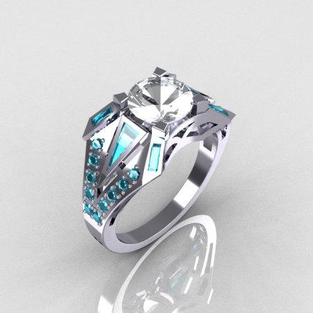 Modern Edwardian 10K White Gold CZ and Aquamarine Designer Ring R85-10KWGCZAQ-1