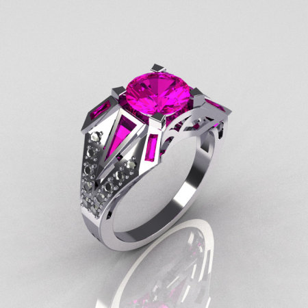 Modern Edwardian 14K White Gold 1.50 CT Round and Baguette Pink Sapphire w 0.20 Ctw Diamond Bridal Ring R85-14KDPS-1