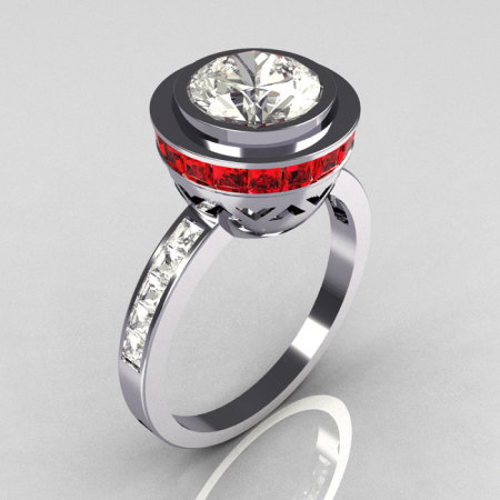 Modern Vintage 950 Platinum 1.50 CT Round CZ and .70 Ctw Square Garnet Bridal Ring R78-PLATCZG-1