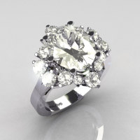 Classic Grigoryan 14K White Gold 4.0 Carat Oval and 1.0 Carat CZ Cluster Engagement Ring R87-14KWGCZ-1