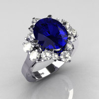 Classic 10K White Gold 4.0 Carat Oval Blue Sapphire 1.0 Carat CZ Cluster Engagement Ring R87-10KWGBTBS-1