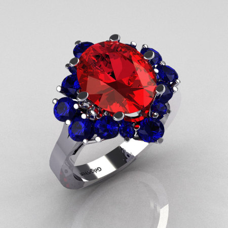 Classic 10K White Gold 4.0 Carat Oval Red Garnet and 1.0 Carat Round  Blue Sapphire Cluster Engagement Ring R87-10KWGBSRG-1
