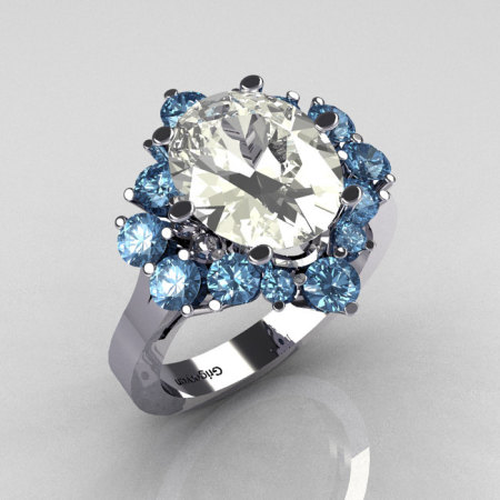 Classic Grigoryan 10K White Gold 4.0 Carat Oval CZ 1.0 Carat Blue Topaz Cluster Engagement Ring R87-10KWGCZBT-1