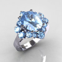 Classic Grigoryan 10K White Gold 4.0 Carat Oval and 1.0 Carat Blue Topaz Cluster Engagement Ring R87-10KWGBT-1