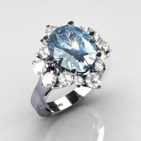 Classic Grigoryan 14K White Gold 4.0 Carat Oval Blue Topaz 1.0 Carat CZ Cluster Engagement Ring R87-14KWGBTCZ-1