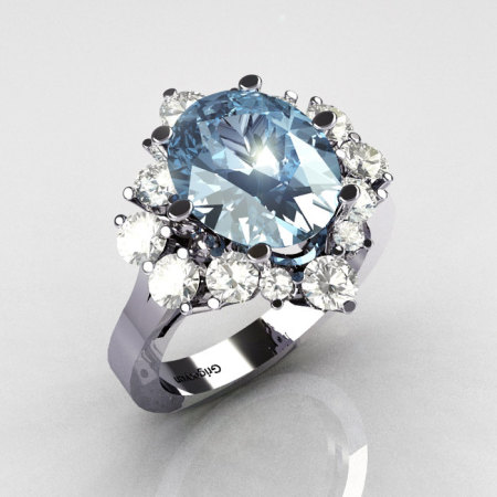 Classic Grigoryan 14K White Gold 4.0 Carat Oval Blue Topaz 1.0 Carat CZ Cluster Engagement Ring R87-14KWGBTCZ-1