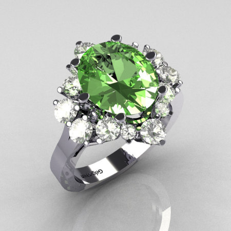 Classic Grigoryan 14K White Gold 4.0 Carat Oval Green Topaz 1.0 Carat CZ Cluster Engagement Ring R87-14KWGGTCZ-1