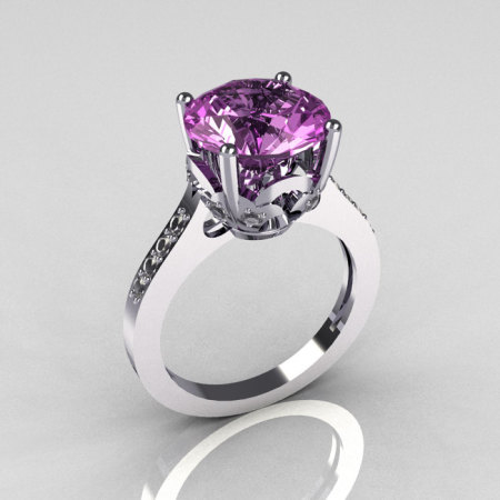 Classic 14K White Gold 3.5 Carat Lilac Amethyst Pave Diamond Solitaire Wedding Ring R301-14KWGDLA-1
