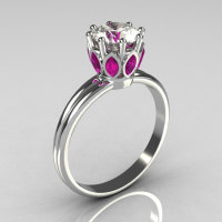 Modern French Antique 18K White Gold Marquise Pink Sapphire 1.0 CT Round Zirconia Solitaire Ring R90-18KWGCZPS-1