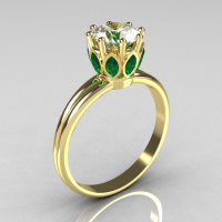 Modern Antique 10K Yellow Gold Marquise Emerald 1.0 CT Round Zirconia Solitaire Ring R90-10KYGCZEM-1