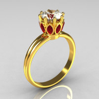 Modern Antique 22K Yellow Gold Marquise Red Rubies 1.0 CT Round Zirconia Solitaire Ring R90-22KYGCZEM-1
