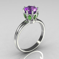 Classic 14K White Gold Marquise Green Sapphire 1.0 CT Round Lilac Amethyst Cocktail Ring R90-14KWGGSLA-1
