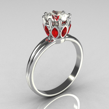 Modern French Antique 10K White Gold Marquise Red Garnet 1.0 CT Round Zirconia Solitaire Ring R90-10KWGCZRG-1