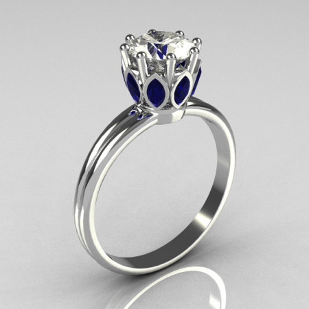 Modern Antique 950 Platinum Marquise Blue Sapphire 1.0 CT Round Zirconia Solitaire Ring R90-PLATCZBS-1