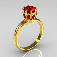 Modern Antique 22K Yellow Gold Marquise and 1.0 CT Round Red Rubies Solitaire Ring R90-22KYGRR-1