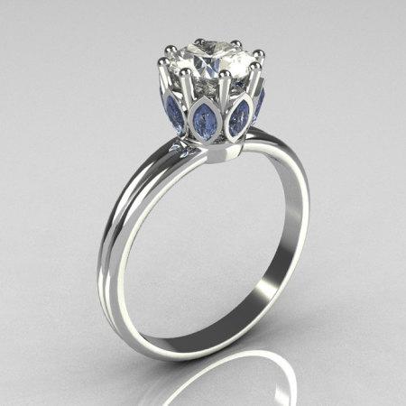 Modern Antique 950 Platinum Marquise Blue Topaz 1.0 CT Round Zirconia Solitaire Ring R90-PLATCZBT-1
