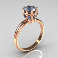 Modern Antique 18K Pink Gold 0.40 CT Marquise and 1.0 CT Round Blue Topaz Solitaire Ring R90-18KPGBT-1