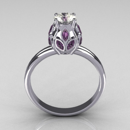 Classic 10K White Gold Marquise Lilac Amethyst 0.5 CT Round Zirconia Tulip Ring R89-10KWGCZLA-1