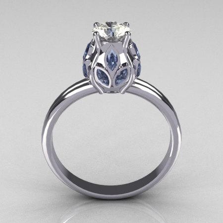 Classic 10K White Gold Marquise Blue Topaz 0.5 CT Round Zirconia Tulip Ring R89-10KWGCZBT-1